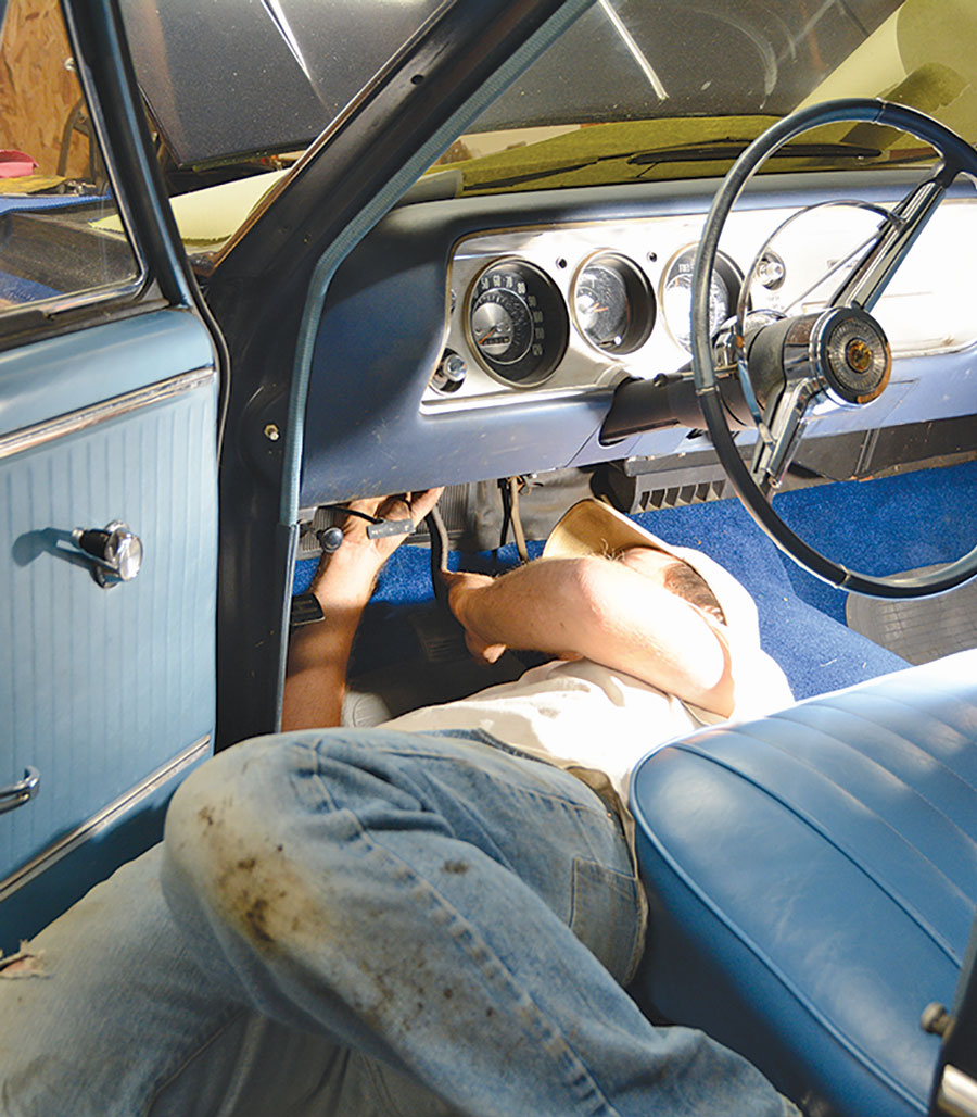 06: Our Chevelle has plenty of room to slide under the dash for the pedal pushrod and clevis installation