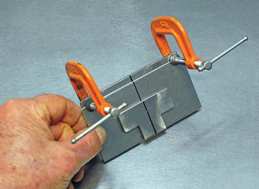 12: Use small C-clamps to hold the female die in the proper location