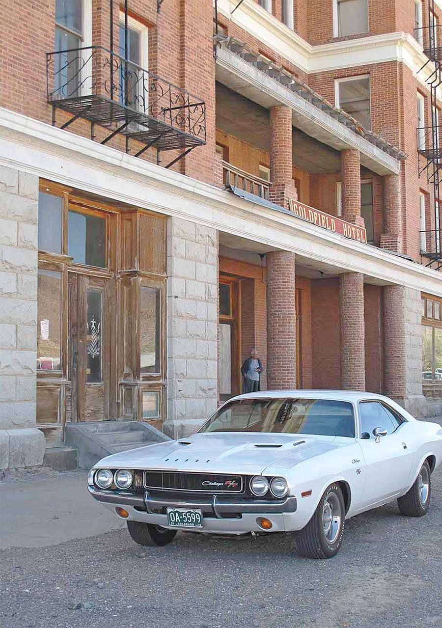 the Challenger outside of The Goldfield Hotel
