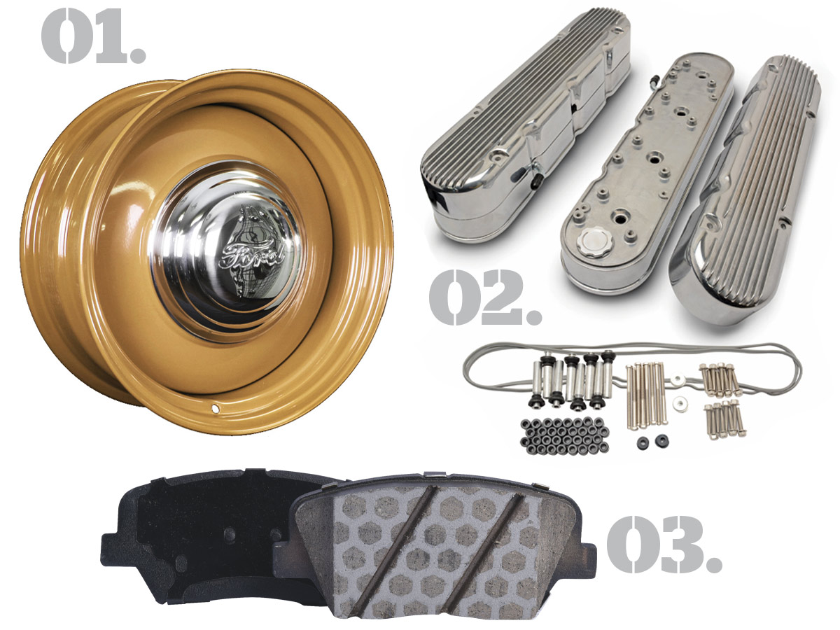 01. 17-inch two-piece steel smoothie wheel; 02. two-piece finned aluminum LS valve cover set; 03. Duralast brake pad