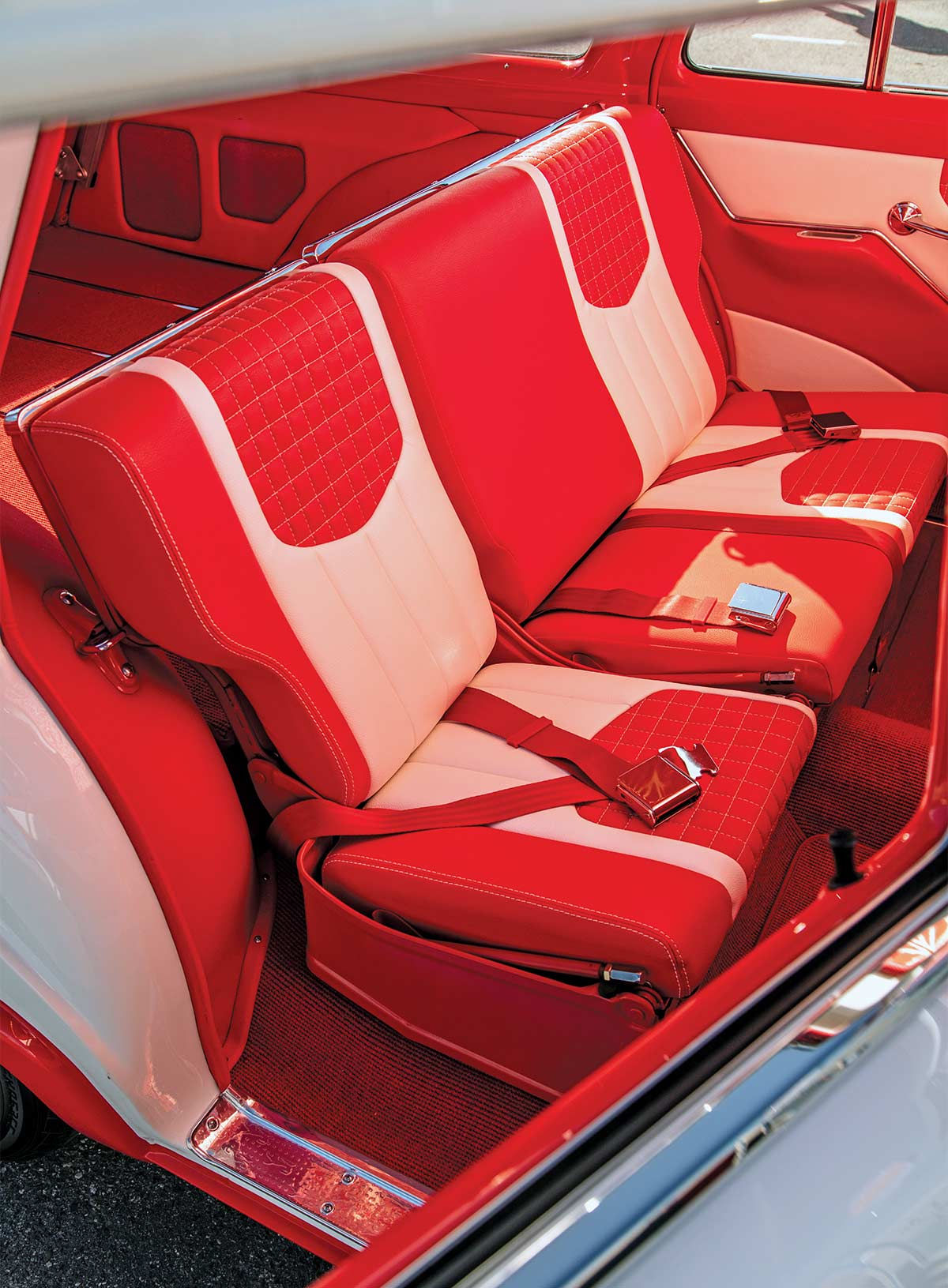 1956 Ford Country Sedan Wagon interior red and white upholstery