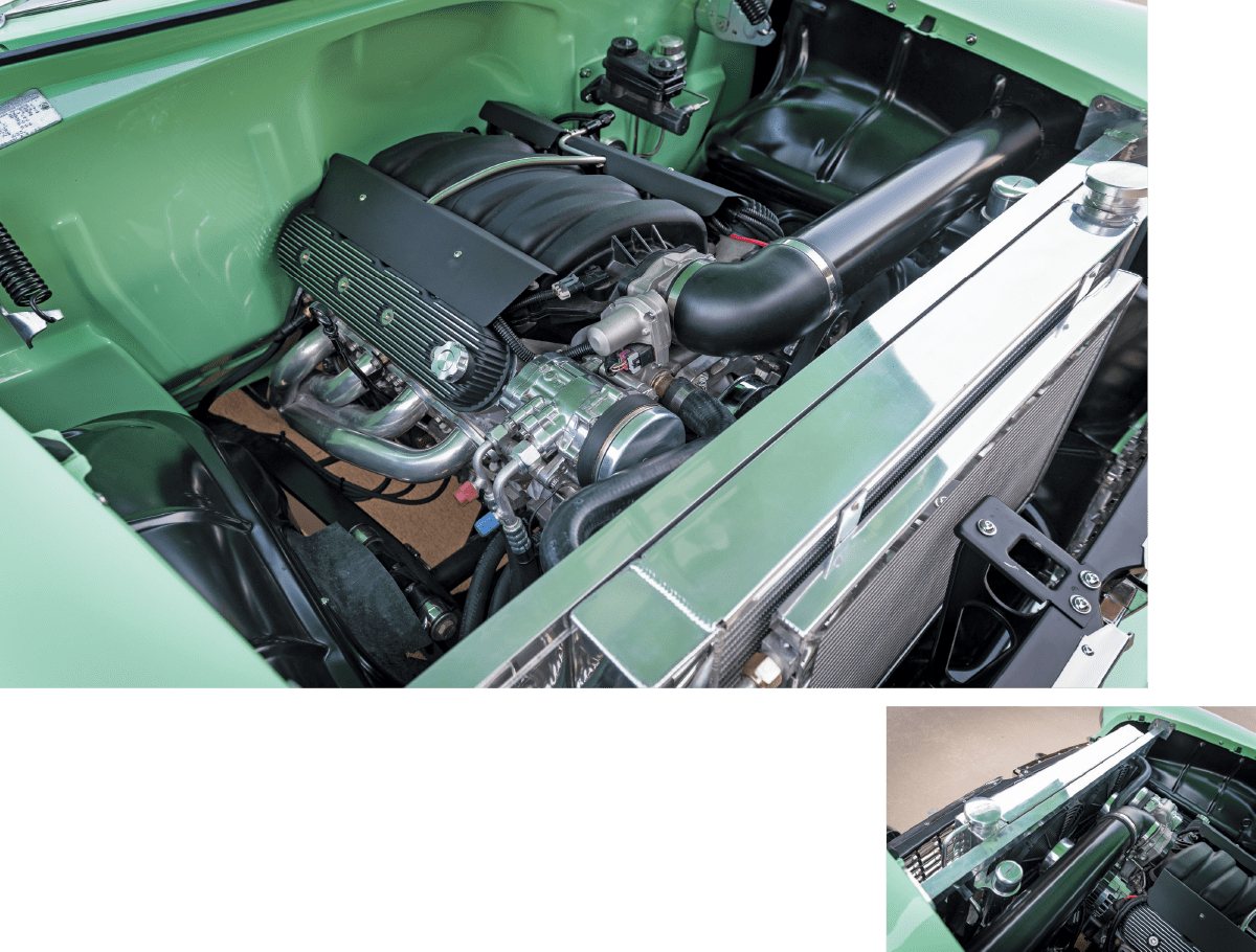 1955 Chevy engine compartment