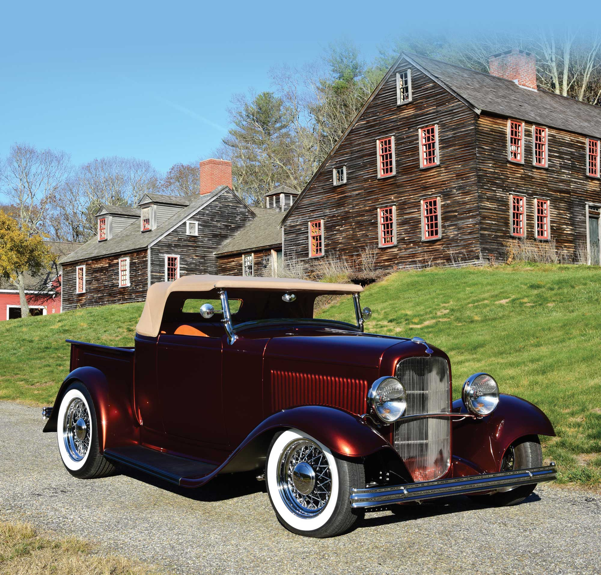 maroon 1932 Ford