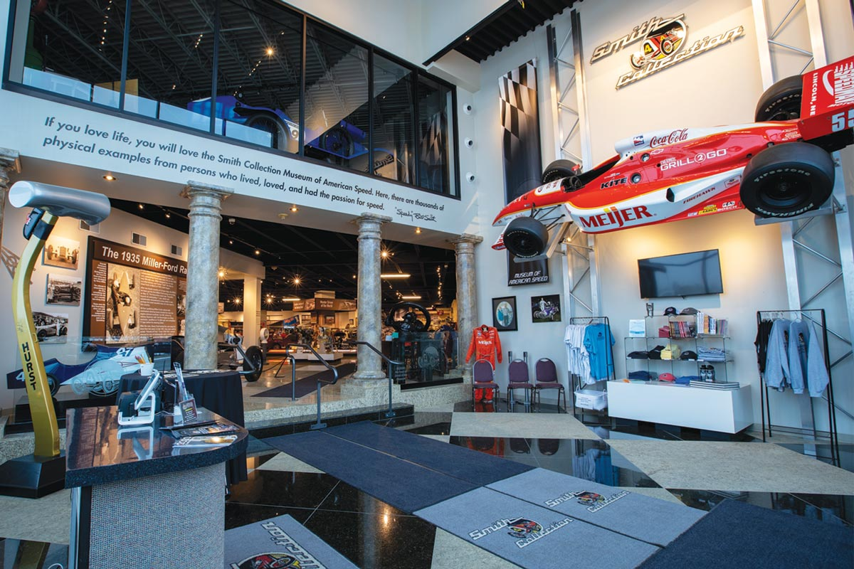 a professional racing display at the Speedway Motors Museum